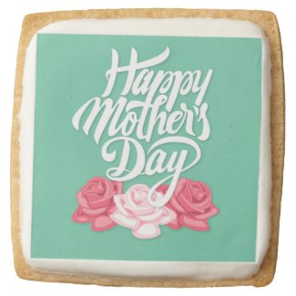 rose typography mother day square shortbread cookie