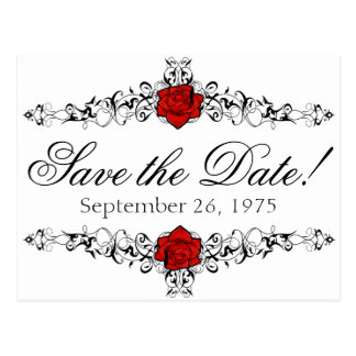 Rose Vine Wedding Save the Date Postcard