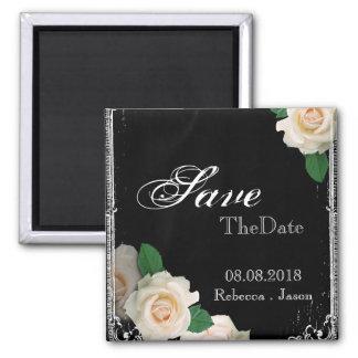 rose vintage Chalkboard wedding save the date 2 Inch Square Magnet