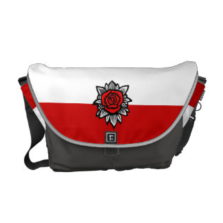 Rose Vintage Messenger Bag White Red