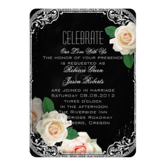 rose vintage typography Chalkboard wedding 5x7 Paper Invitation Card