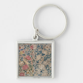 'Rose' wallpaper design (pencil and w/c on paper) Silver-Colored Square Keychain