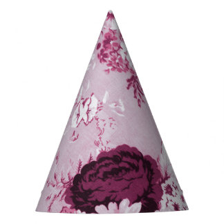 Rose Water Pink Floral Toile No.5 Party Hat