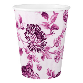 Rose Water Pink Foral Toile No.2 Paper Cup