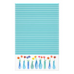 Rose Watercolor Flowers Turquoise Lined Stationery