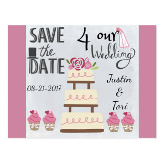 Rose Wedding Cake Save the Date Postcard