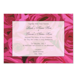"Rose Wedding Invitation - Together With Parents 5"" X 7"" Invitation Card"