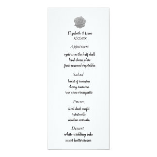 Rose Wedding Menu Card