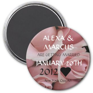 Rose Wedding Save the Date Round Magnet