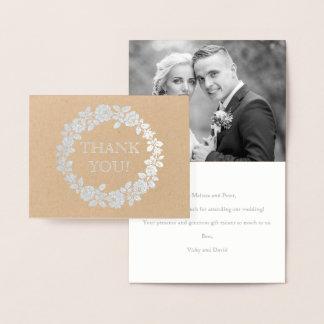 Rose wedding Thank you kraft paper photo silver Foil Card