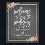 "Rose Welcome Wedding Sign<br><div class=""desc"">Welcome to the Wedding of poster with chalkboard background and painted roses.</div>"