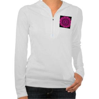 Rose Wheel of Fire Mandala, Abstract Ruby Lace Hooded Sweatshirt