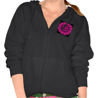 Rose Wheel of Fire Mandala, Abstract Ruby Lace Hoodie