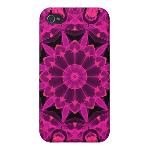 Rose Wheel of Fire Mandala, Abstract Ruby Lace iPhone 4 Cover