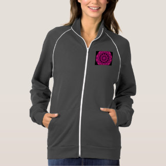 Rose Wheel of Fire Mandala, Abstract Ruby Lace Printed Jackets