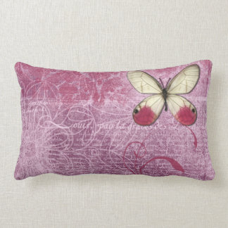 Rose Whimsy Butterfly Writing Throw Pillow