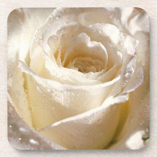 rose white beverage coaster