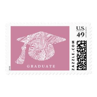 Rose White Bohemian Pattern Graduation Hat Postage