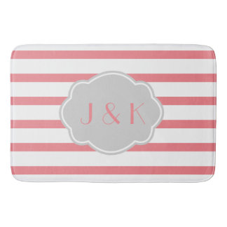 Rose/White Stripes w Gray, add initials Bathroom Mat