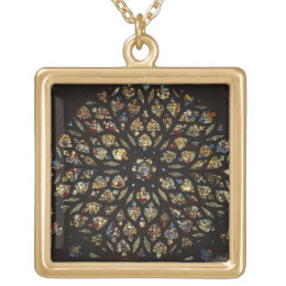 Rose window above the west door, with scenes depic gold plated necklace