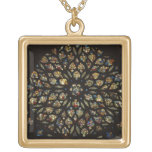 Rose window above the west door, with scenes depic square pendant necklace