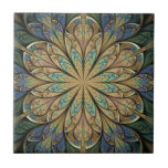 """Rose Window Ceramic Tile<br><div class=""""desc"""">Copyright &#169; 2010,  Susan Wallace. Intricate floral stained glass pattern in shades of buttery yellow,  purple,  blue and turquoise.</div>"""
