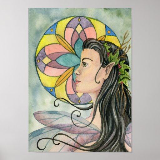 Rose Window Fairy Poster