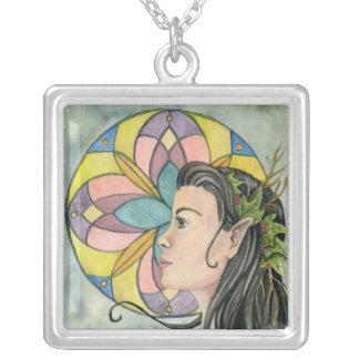 Rose Window Fairy Square Pendant Necklace
