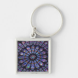 Rose Window Paris Silver-Colored Square Keychain