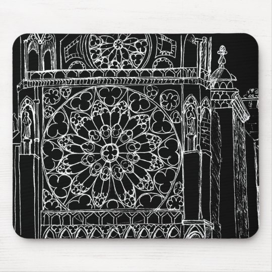 Rose Window Sketch Mouse Pad
