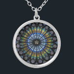 """rose window strasbourg cathedral silver plated necklace<br><div class=""""desc"""">rose window strasbourg cathedral</div>"""