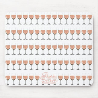 Rosé wine glass patterned mouse pad