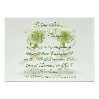 Rose Wine Glasses Engagement Invitation 2