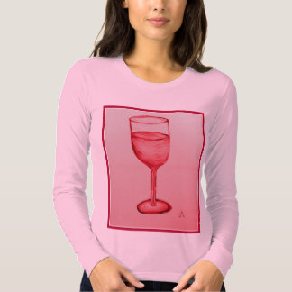ROSE WINE IN RED GLASS PRINT BY JILL TEE SHIRT