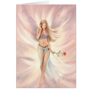 """Rose"" Winged Fairy with a Red Rose Greeting Card"