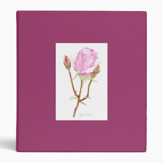 Rose with Buds 3 Ring Binder