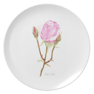 Rose with Buds Plate