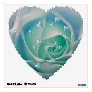 rose with hearts aqua wall sticker