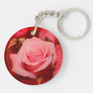 rose with red streaks pretty flower design acrylic key chain
