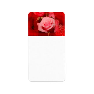 rose with red streaks pretty flower design address label