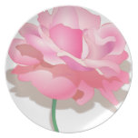 ROSE WITH STEM, BEAUTIFUL PINK FLOWER DINNER PLATE