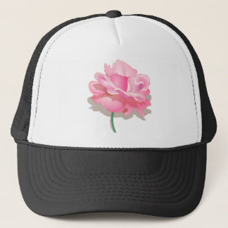 ROSE WITH STEM, BEAUTIFUL PINK FLOWER TRUCKER HAT