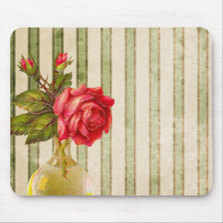 Rose With Vase and Weathered Stripes Mouse Pad