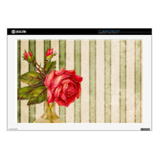 """Rose With Vase and Weathered Stripes Decals For 17"""" Laptops"""