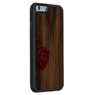 Rose With Vase and Weathered Stripes Carved® Walnut iPhone 6 Bumper