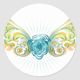 Rose with wings classic round sticker