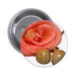 Rose with wooden percussion bell mallets pinback buttons