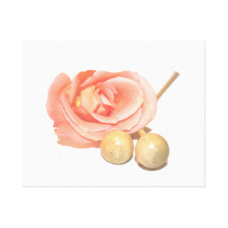 Rose with wooden percussion bell mallets faded cut canvas print