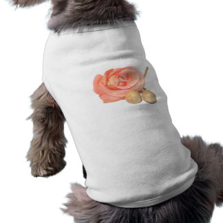 Rose with wooden percussion bell mallets faded cut dog tee