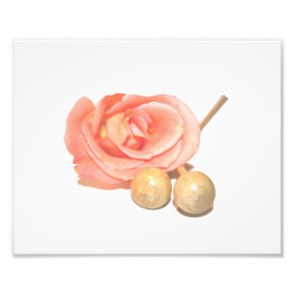 Rose with wooden percussion bell mallets faded cut art photo